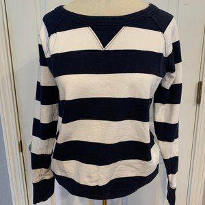 🛍GAP Navy Rugby Stripe Crew Sweatshirt - Small